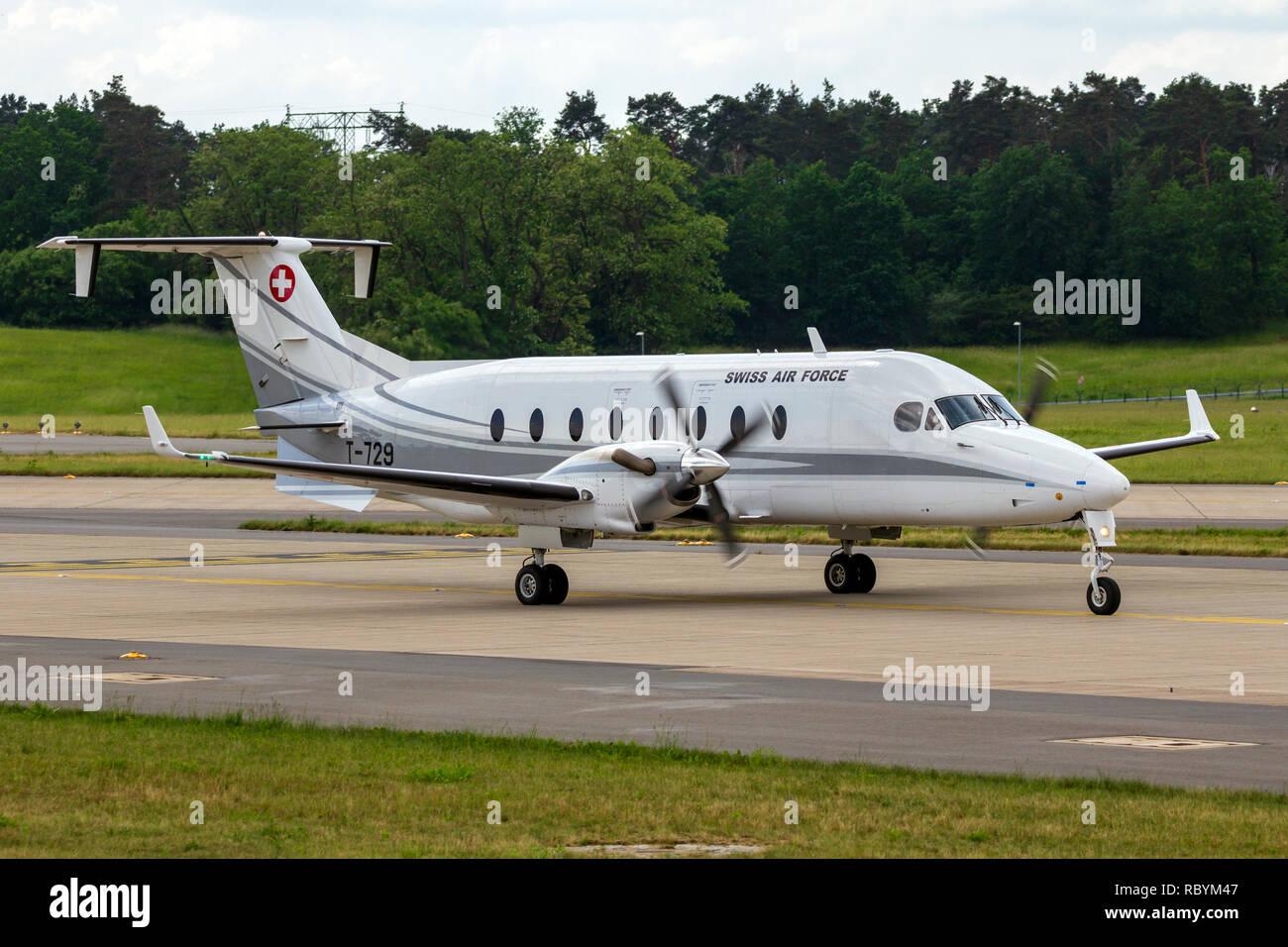 BERLIN, GERMANY - JUNE 2, 2016: Swiss Air Force Beech 1900D VIP transport plane taxiing after landing on Berlin-Schonefeld airport. - Stock Image