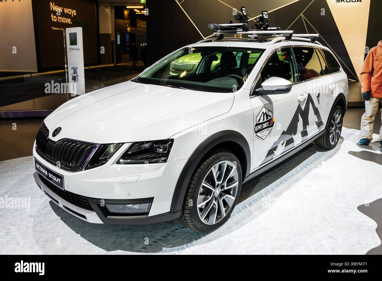 Brussels Jan 10 2018 Skoda Octavia Scout Wagon Car Showcased At The Brussels Expo Autosalon Motor Show Stock Photo Alamy
