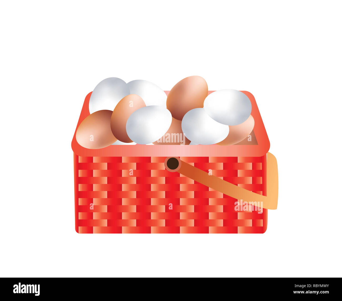 Fresh brown and white eggs in a weave basket - Stock Image