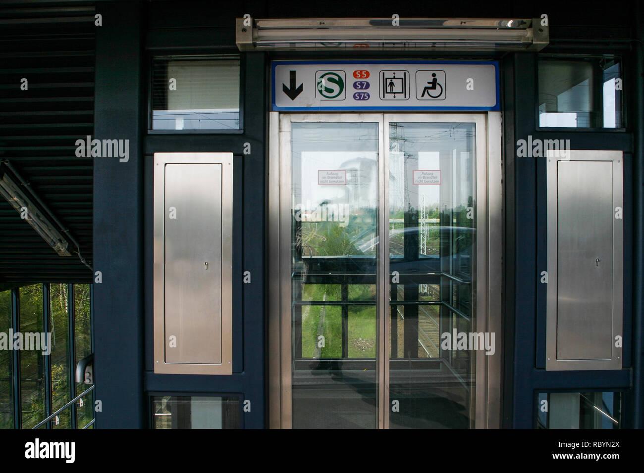 S-Bahn elevator, Berlin, Germany Stock Photo