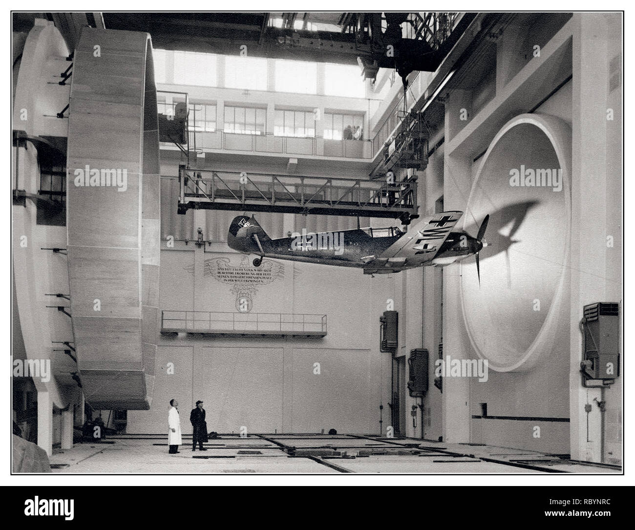 Messerschmitt Bf 109  WW2 Germany.. German engineers wind tunnel testing a Nazi Fighter Aircraft Messerschmitt Bf 109 E3, 1940 - Stock Image