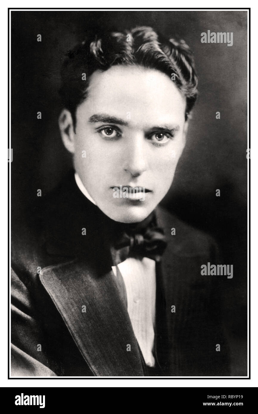 CHARLIE CHAPLIN PORTRAIT Archive c1916 image of Charlie Chaplin renowned silent movies British film star comic actor and director.  Sir Charles Spencer Chaplin KBE (16 April 1889 – 25 December 1977) an iconic English comic actor, filmmaker, and composer who rose to fame in the era of silent film. - Stock Image