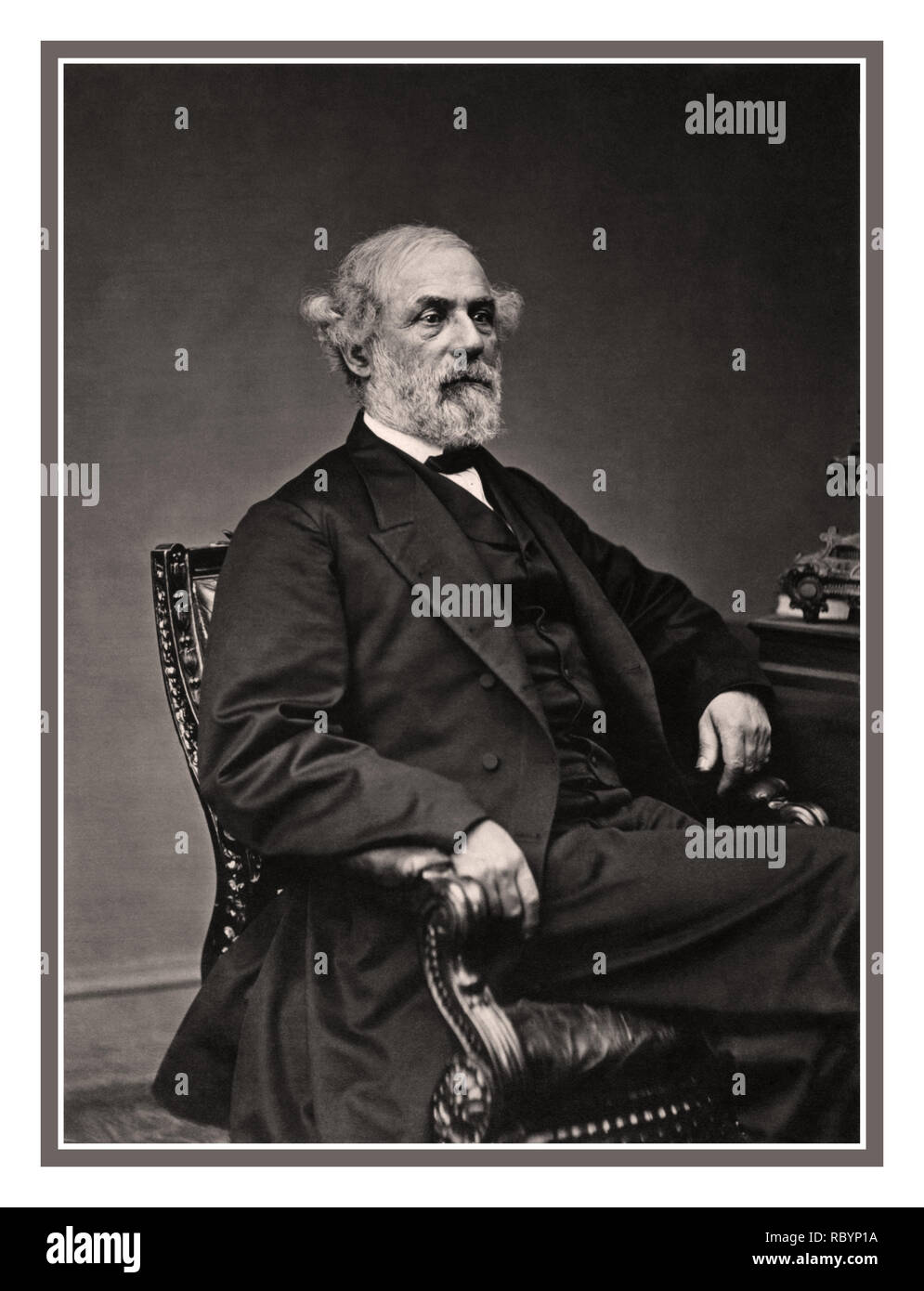 ROBERT E LEE Archive 1860's B&W formal portrait image of Confederate General Robert E. Lee in May 1869 General in Chief of the Armies of the Confederate States - Stock Image