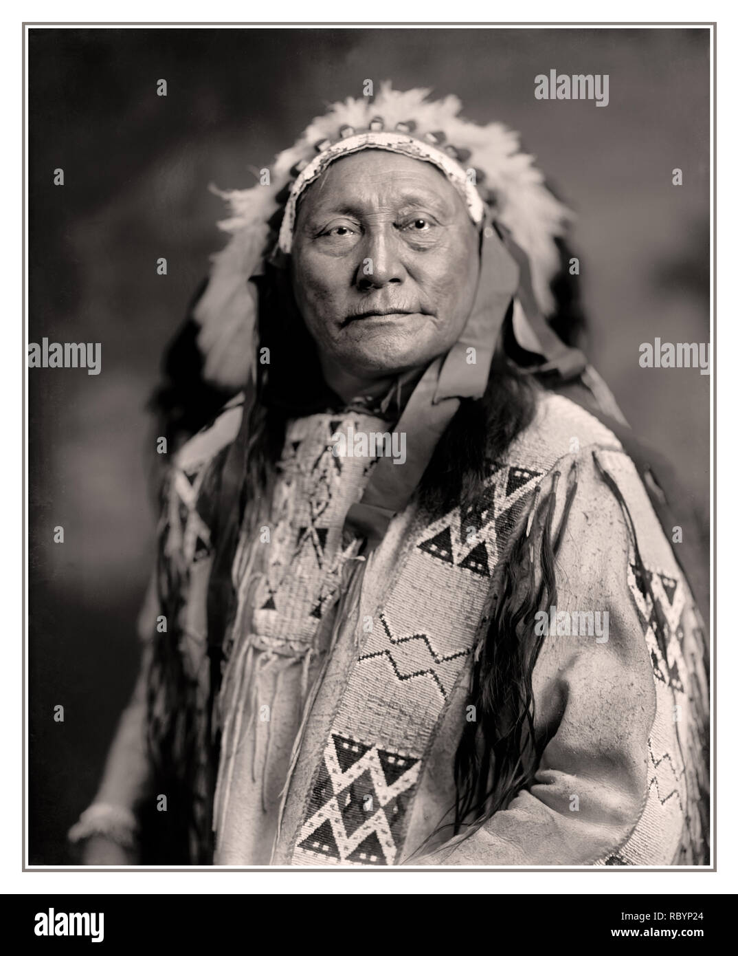 Archive North American Native Tribal Leader HOLLOW HORN BEAR Hollow Horn Bear (1850 – 1913)  a Brulé Lakota leader, who fought in a number of battles, including that at Little Big Horn. He later testified before the US Supreme Court in the case of Crow Dog, rode in the inaugural parades of presidents Roosevelt and Wilson, and was featured on the five dollar bank note and a 1922 US postage stamp. - Stock Image