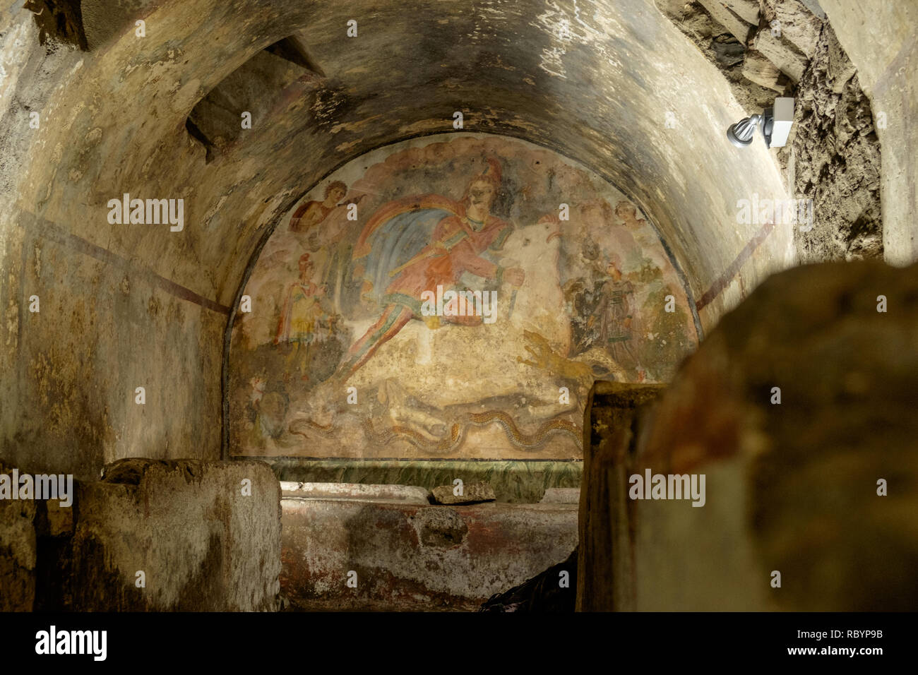 The Mithraeum of Santa Maria Capua Vetere is an example of the worshipping of the god Mithras, very popular in the Roman era. It still has a fresco. - Stock Image