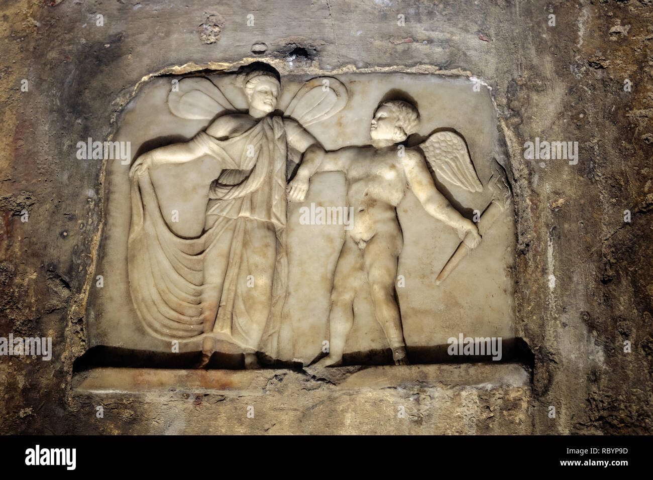 The Mithraeum of Capua goes back to the antiquity and is one of the most important. On of its attractions is a bas-relief of Cupid and Psyche. - Stock Image