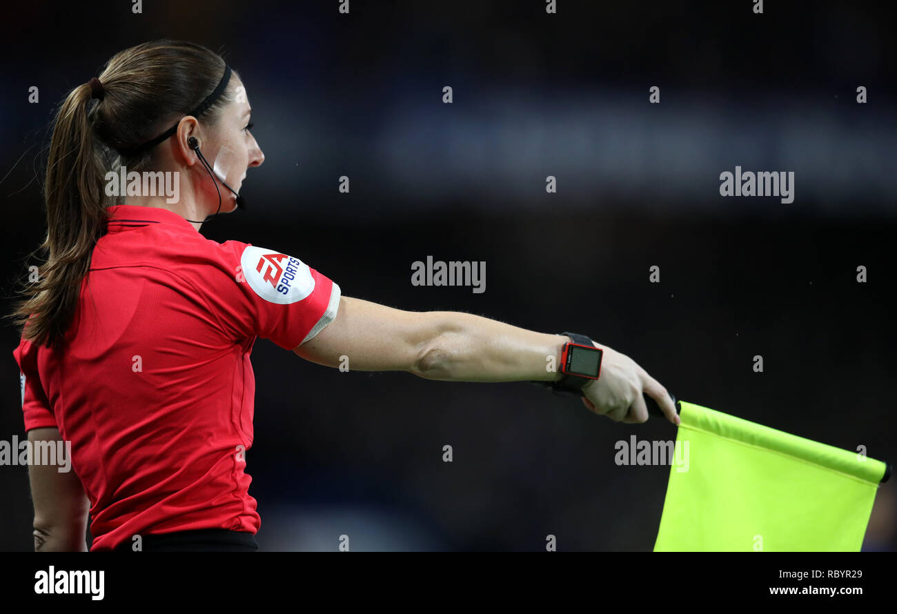 Match official Sian Massey-Ellis during the Premier League match at Stamford Bridge, London. - Stock Image