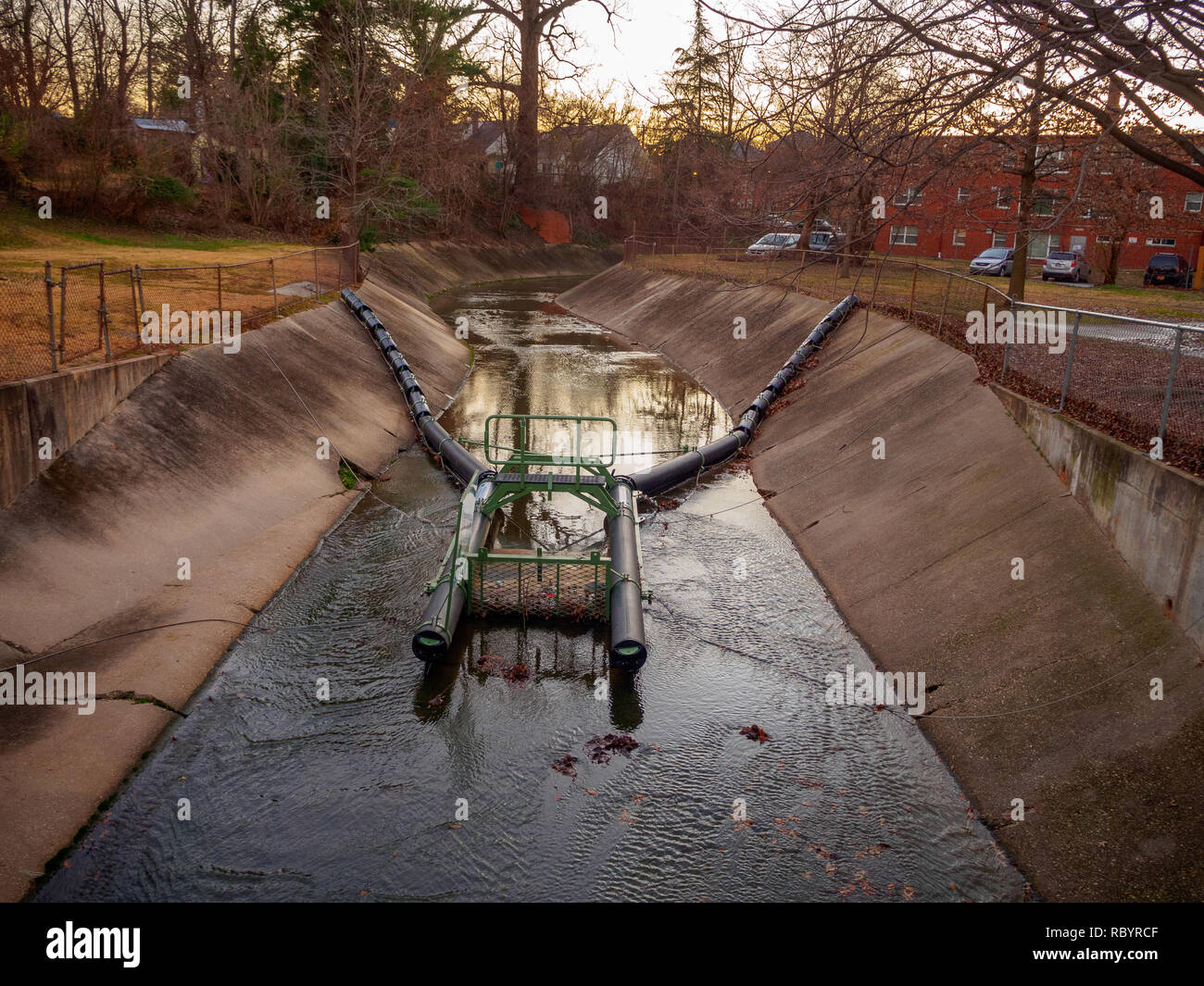 Trash Trap in Concrete Channel on the way to Northwest Branch of the Anacostia River - Stock Image