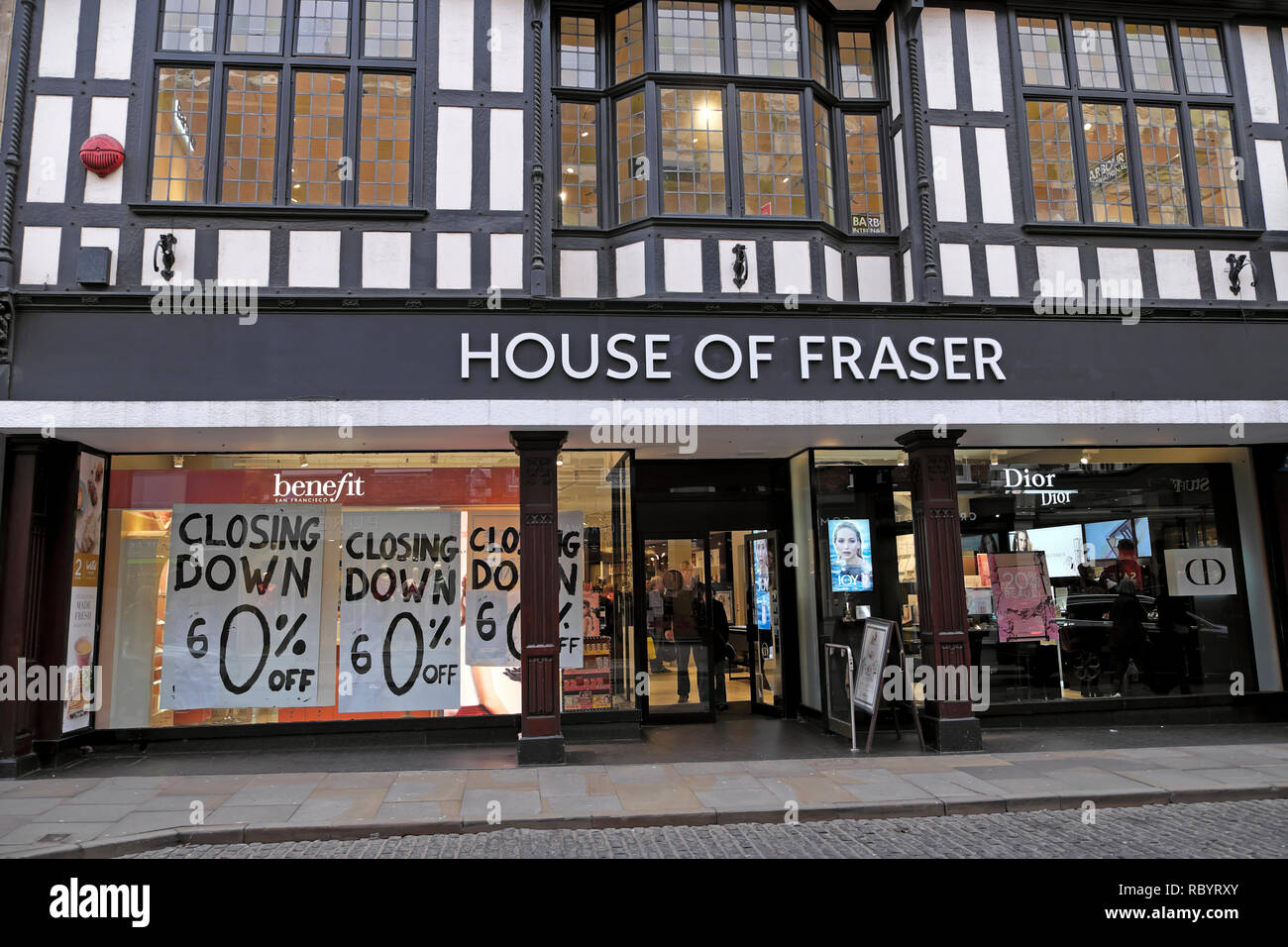 House of Fraser department store in Shrewsbury closing down sale sign in December 2018 Shropshire England UK  KATHY DEWITT - Stock Image