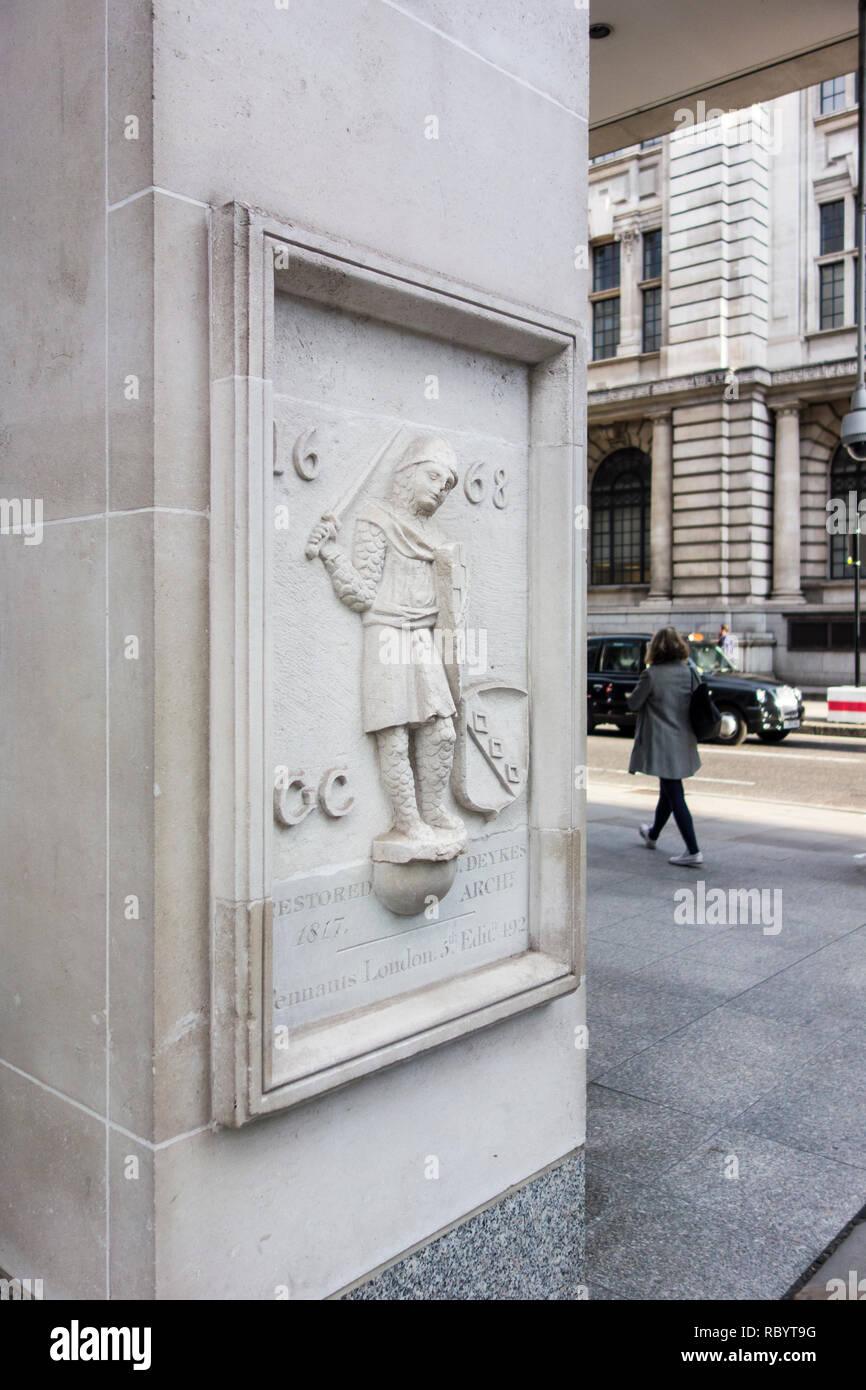 1817 relief outside 7 newgate street, City of London, UK - Stock Image