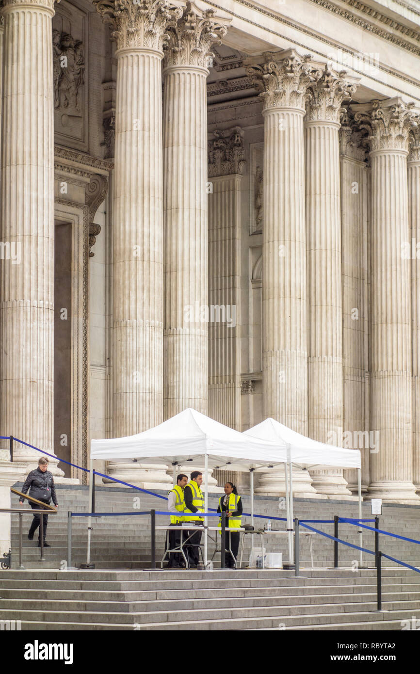 Security checks put in place outside St Paul's Cathedral, City of London, UK Stock Photo