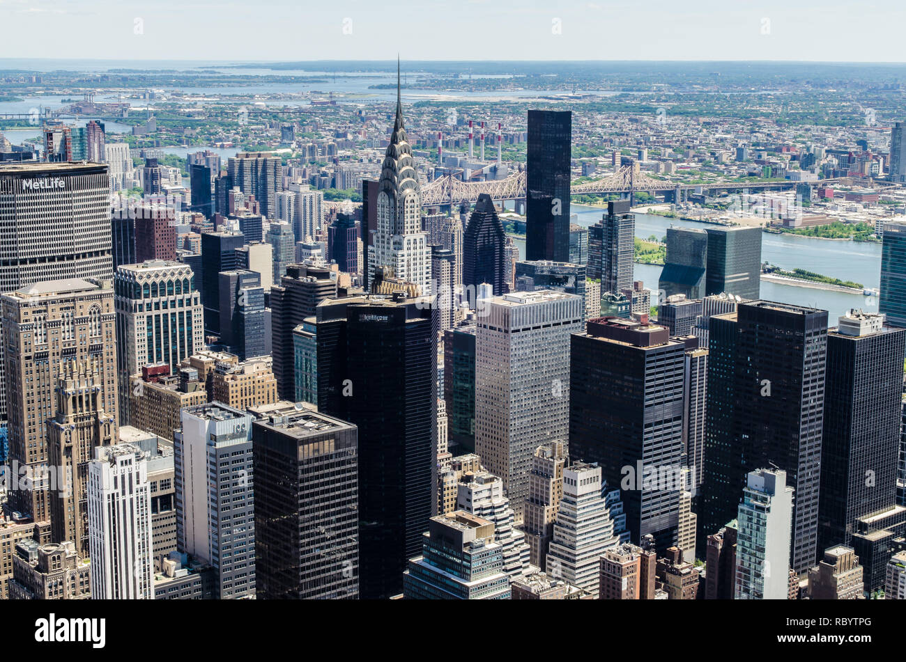 A view of Lower Manhattan skyline from Empire state building on a sunny day in June of 2018  in New York, USA ,2018 - Stock Image