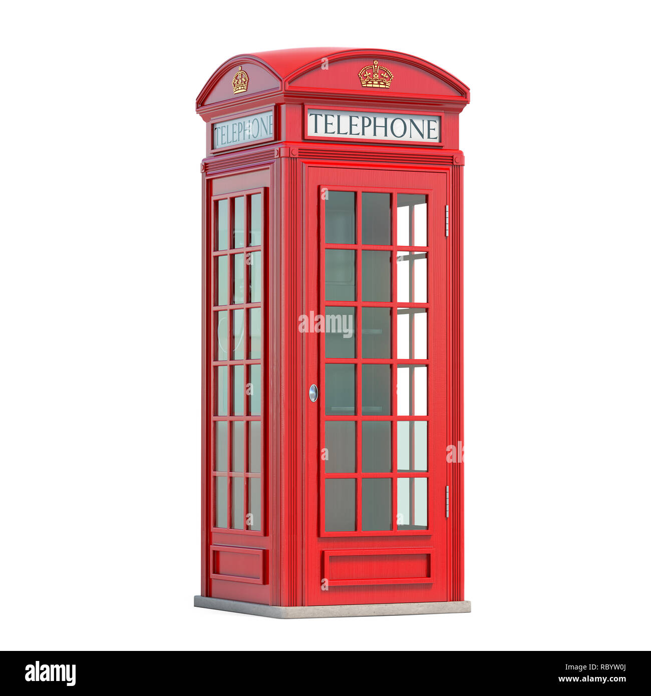 Red phone booth. London, british and english symbol. 3d illustration - Stock Image