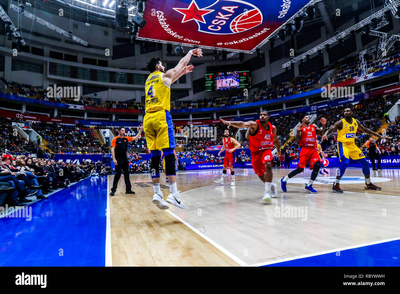 Angelo Caloiaro, #4 of Maccabi Tel Aviv, seen in action against CSKA Moscow in Round 18 of the Turkish Airlines Euroleague game of the 2018-2019 season.  Maccabi Tel Aviv beat CSKA Moscow, 93-76. - Stock Image