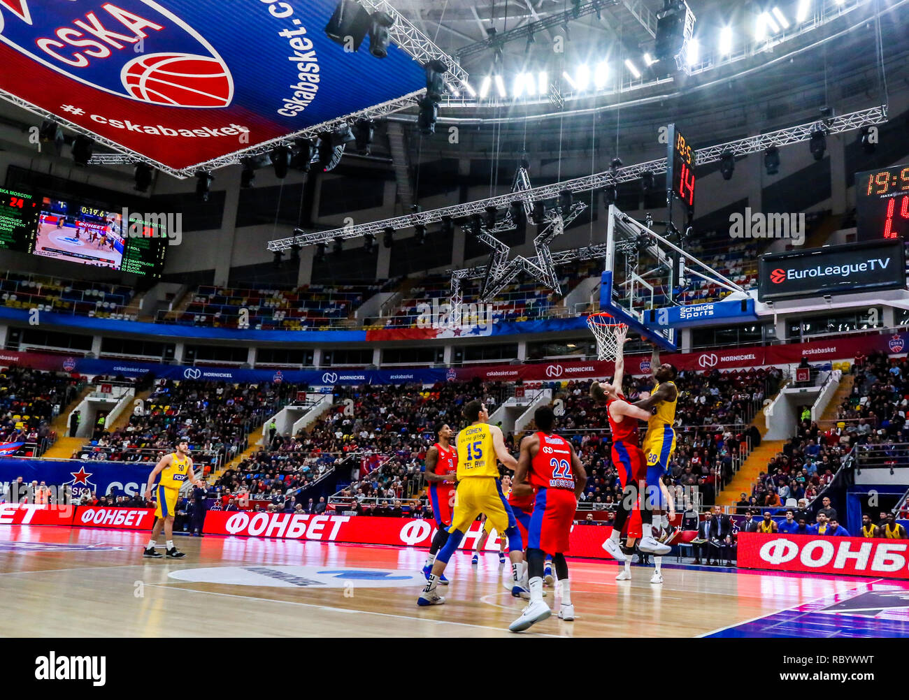 Tarik Black, #28 of Maccabi Tel Aviv, seen in action against CSKA Moscow in Round 18 of the Turkish Airlines Euroleague game of the 2018-2019 season. Maccabi Tel Aviv beat CSKA Moscow, 93-76. - Stock Image