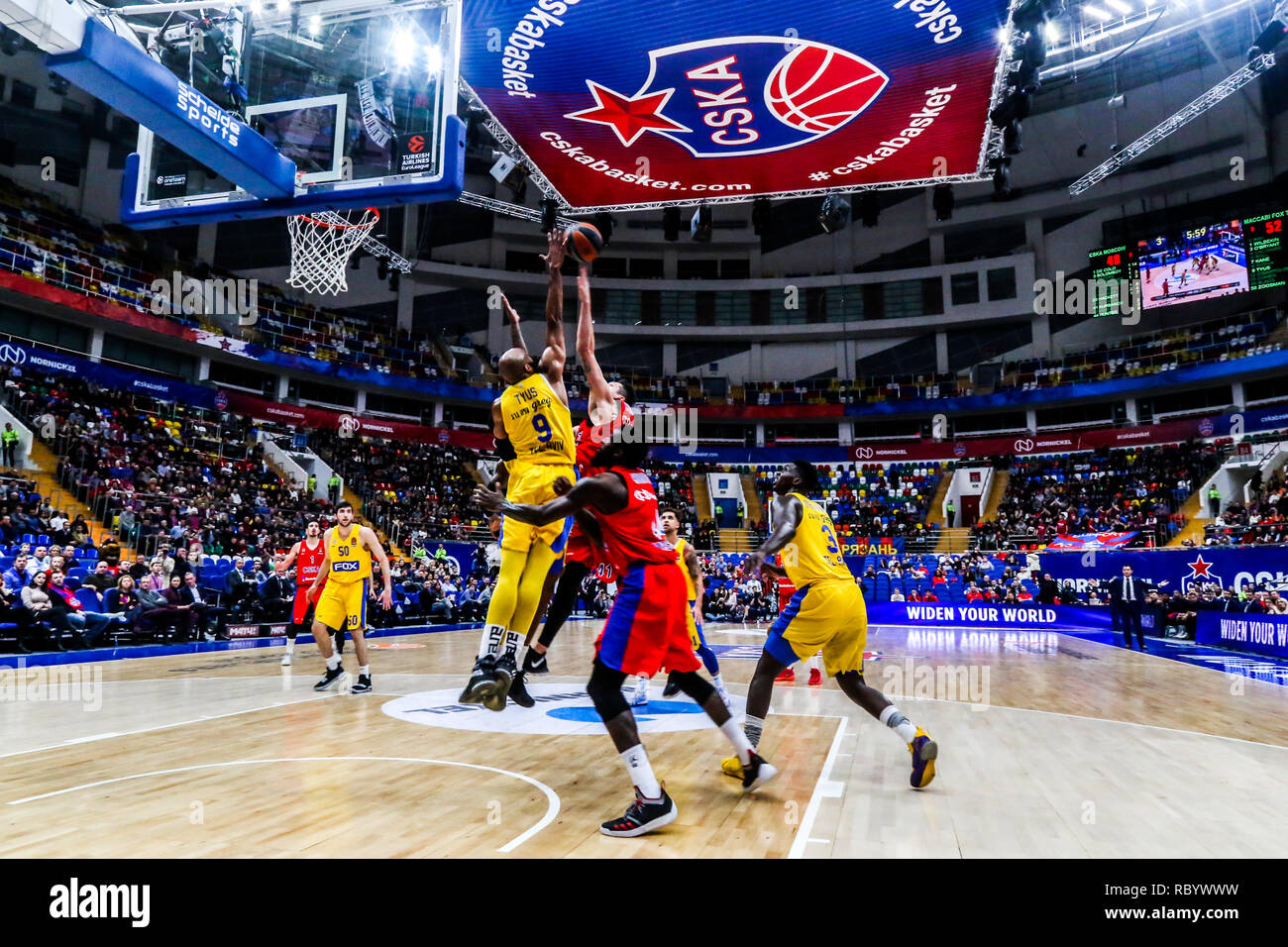 Alex Tyus, #9 of Maccabi Tel Aviv, seen in action against CSKA Moscow in Round 18 of the Turkish Airlines Euroleague game of the 2018-2019 season. Maccabi Tel Aviv beat CSKA Moscow, 93-76. - Stock Image