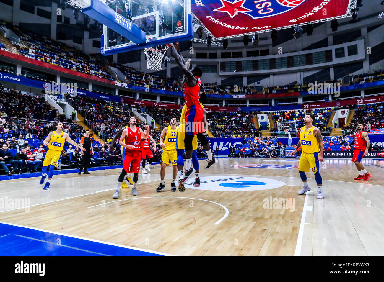 Othello Hunter, #44 of CSKA Moscow seen in action against Maccabi Tel Aviv in Round 18 of the Turkish Airlines Euroleague game of the 2018-2019 season. Maccabi Tel Aviv beat CSKA Moscow, 93-76. - Stock Image