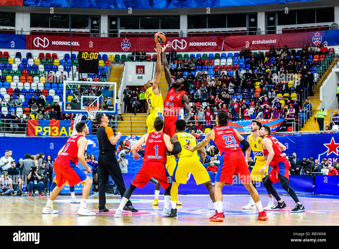 The opening tip of the Maccabi Tel Aviv and CSKA Moscow match in Round 18 of the Turkish Airlines Euroleague game of the 2018-2019 season.  Maccabi Tel Aviv beat CSKA Moscow, 93-76. - Stock Image