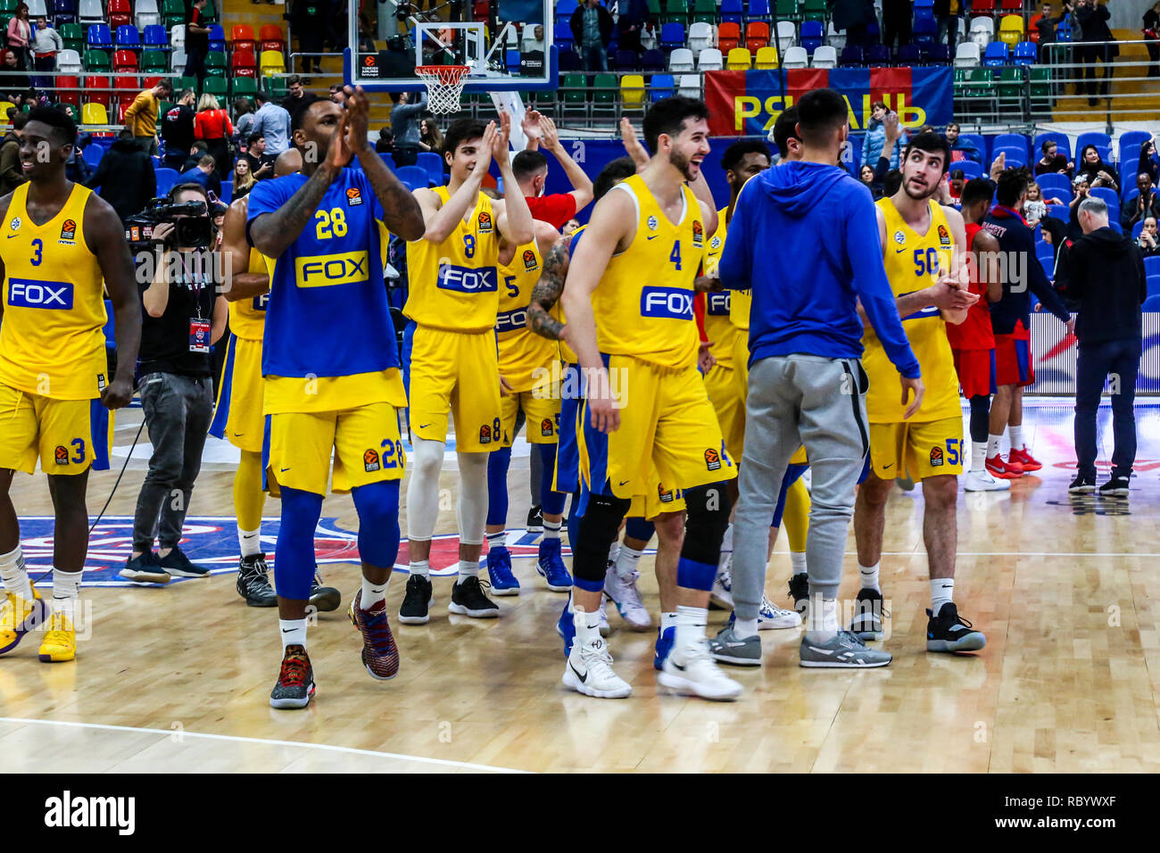 Maccabi Tel Aviv players are seen celebrating after defeating CSKA Moscow in Round 18 during the Turkish Airlines Euroleague game of the 2018-2019 season. Maccabi Tel Aviv beat CSKA Moscow, 93-76. - Stock Image