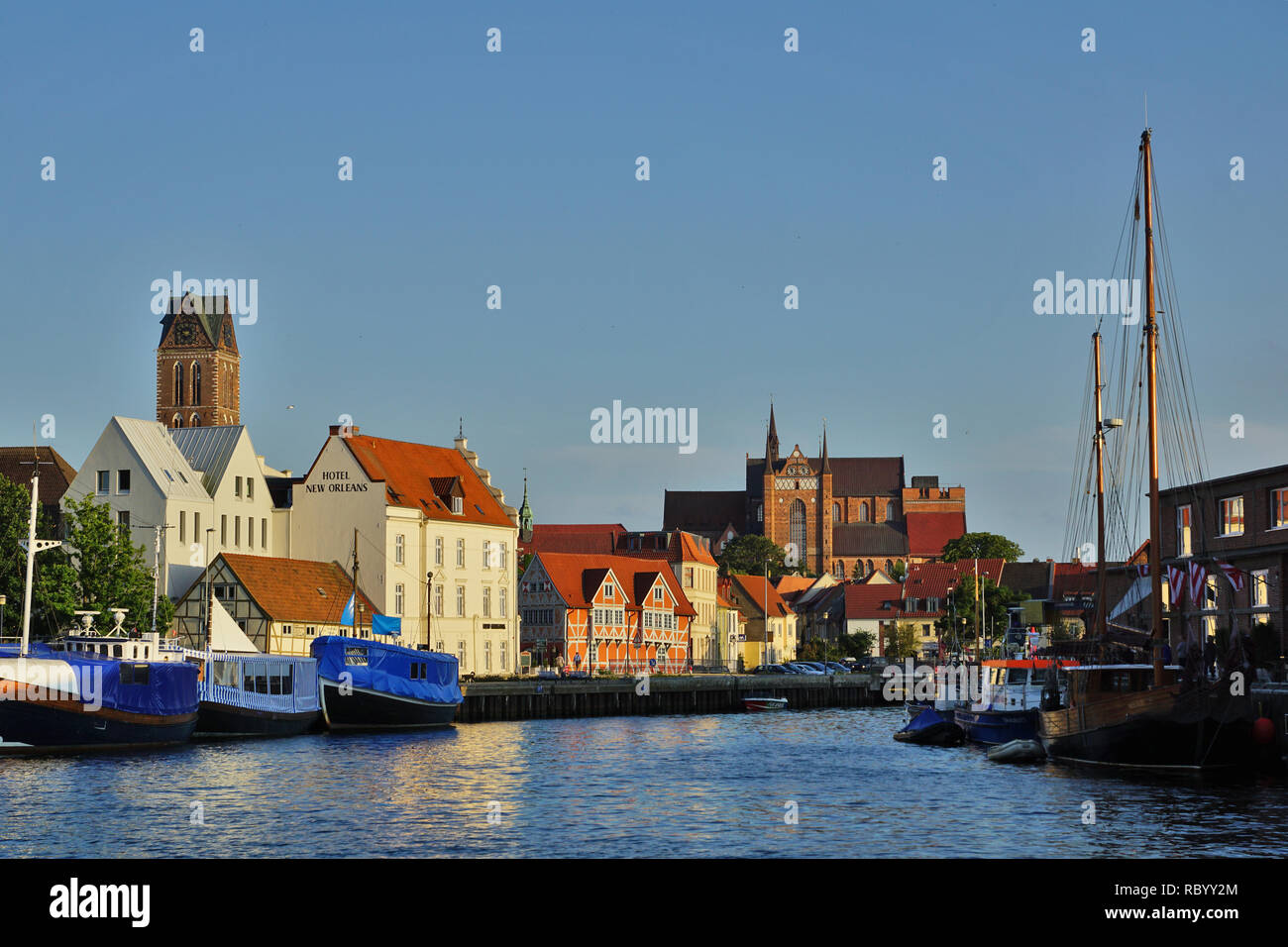Port of Wismar with city panorama - Stock Image