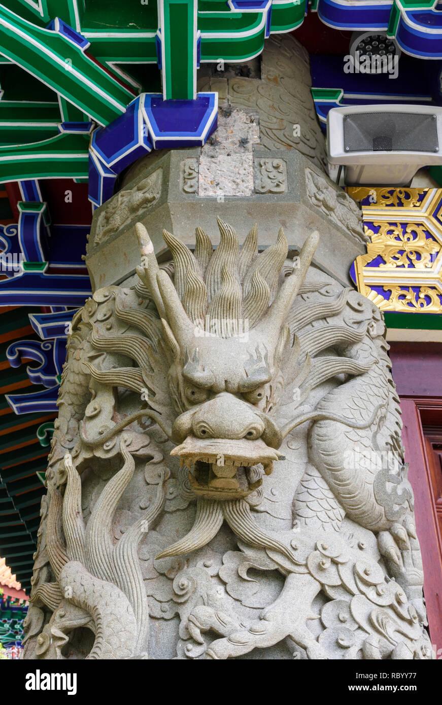 Serpent like creature detail at the Po Lin Monastery, Lantau Island, Hong Kong - Stock Image