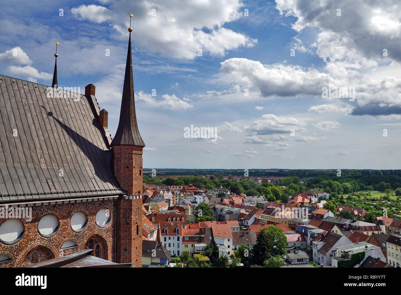 Panorama of Wismar with St. Nikolai - Stock Image
