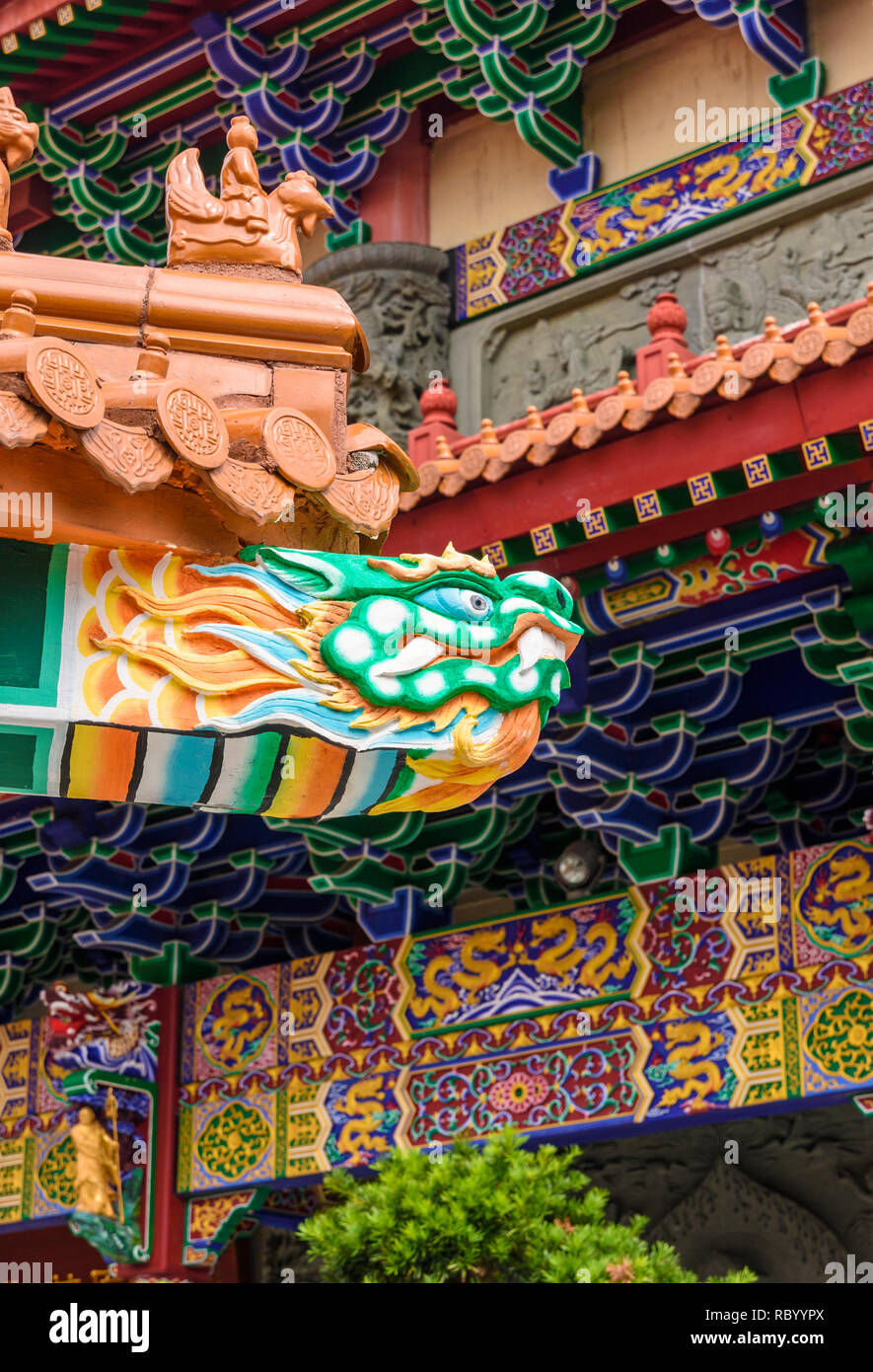 Carved serpent head detail detail at the Po Lin Monastery, Lantau Island, Hong Kong - Stock Image