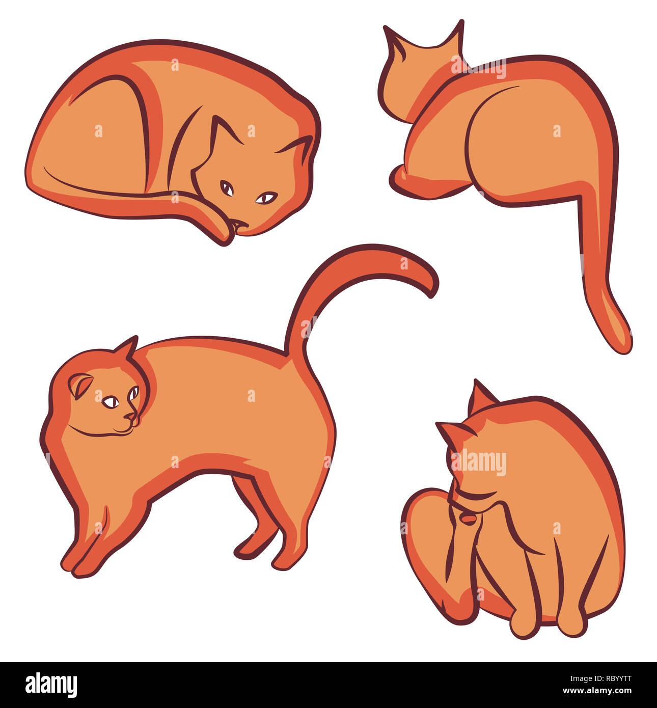 Orange cat different poses clipart - Stock Image