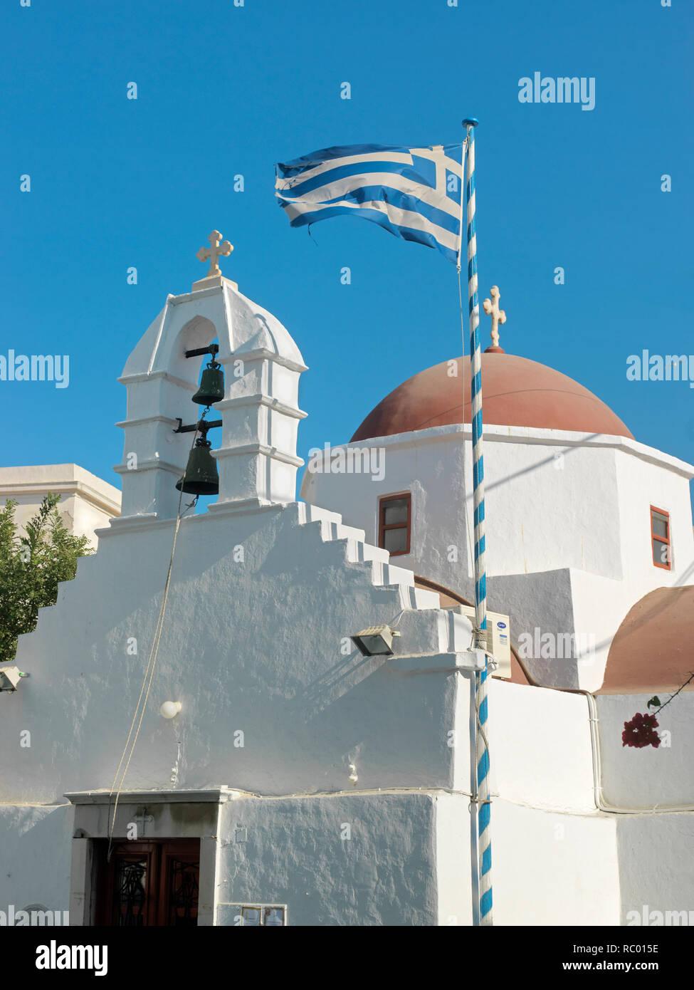 Kirche im Ort Mykonos, Insel Mykonos, Ägäisches Meer, Griechenland, Europa | church in Mykonos town, Mykonos island, Agean Island, Greece, Europe, Mik - Stock Image