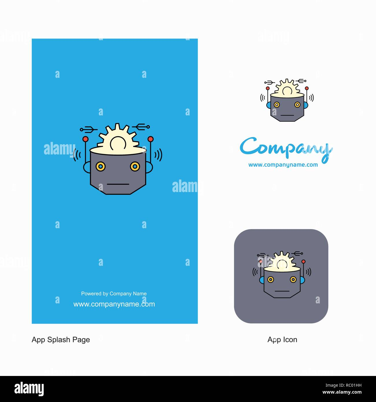 Robot Company Logo App Icon and Splash Page Design  Creative