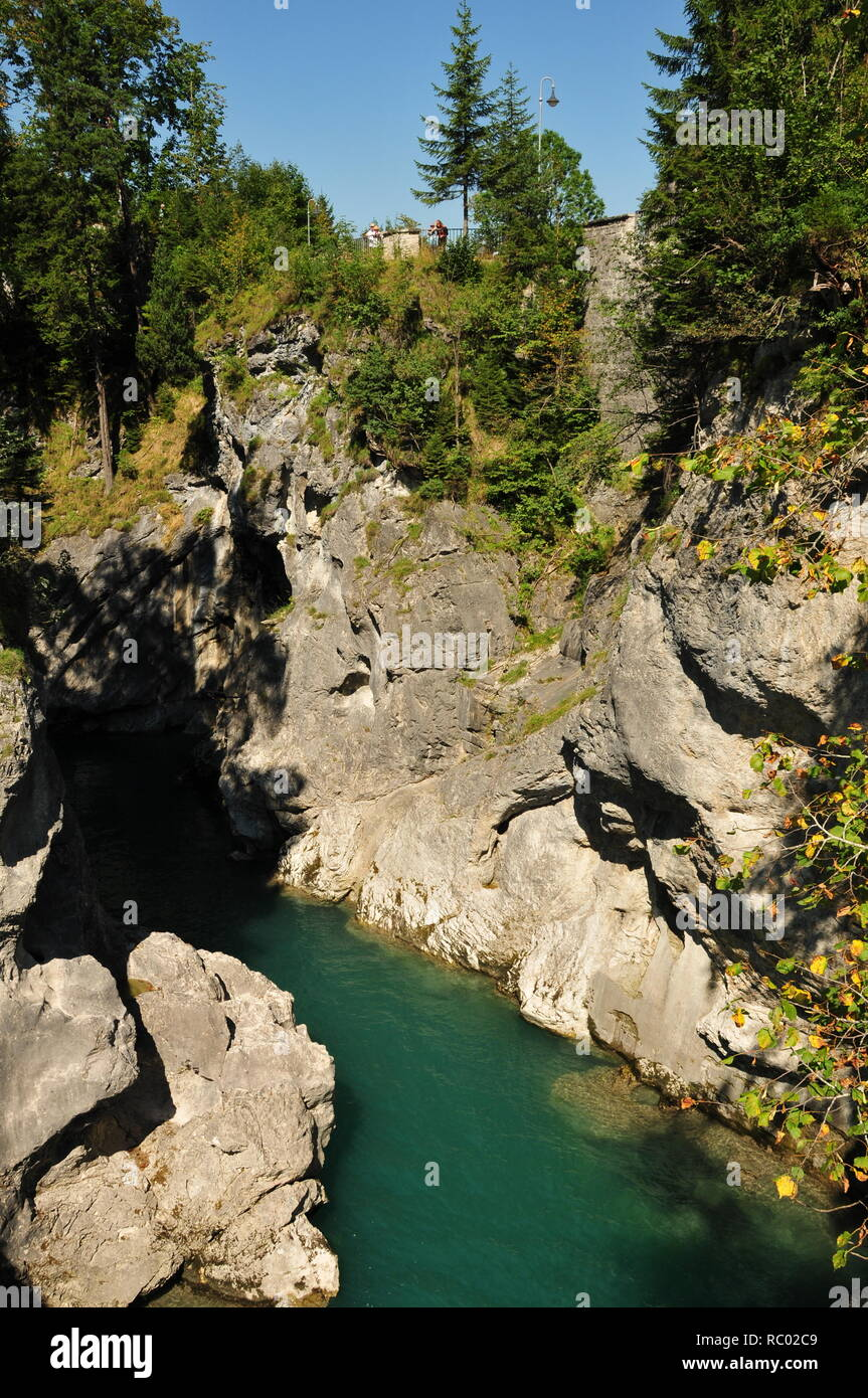 View from the bridge to the Lechfall near Lech - Stock Image