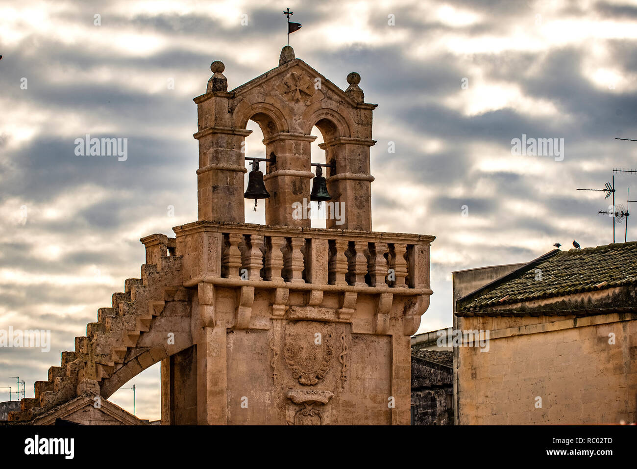 Italy Basilicata Matera Piazza Vittorio Veneto  with Church of Mater Domini Stock Photo