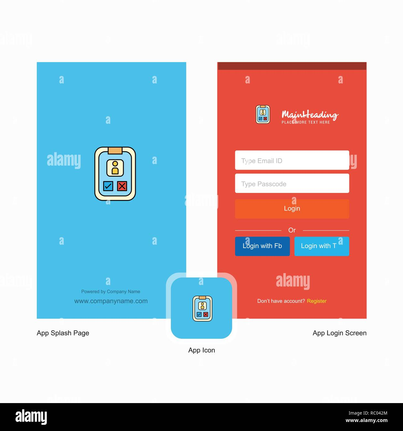 Company Social Media User Profile Splash Screen And Login Page