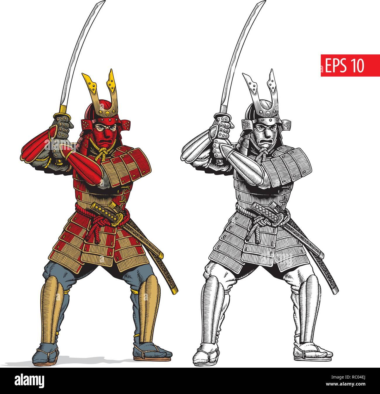 Samurai In Ancient Armor Japanese Warrior With Katana Sword Vector Illustration Stock Vector Image Art Alamy