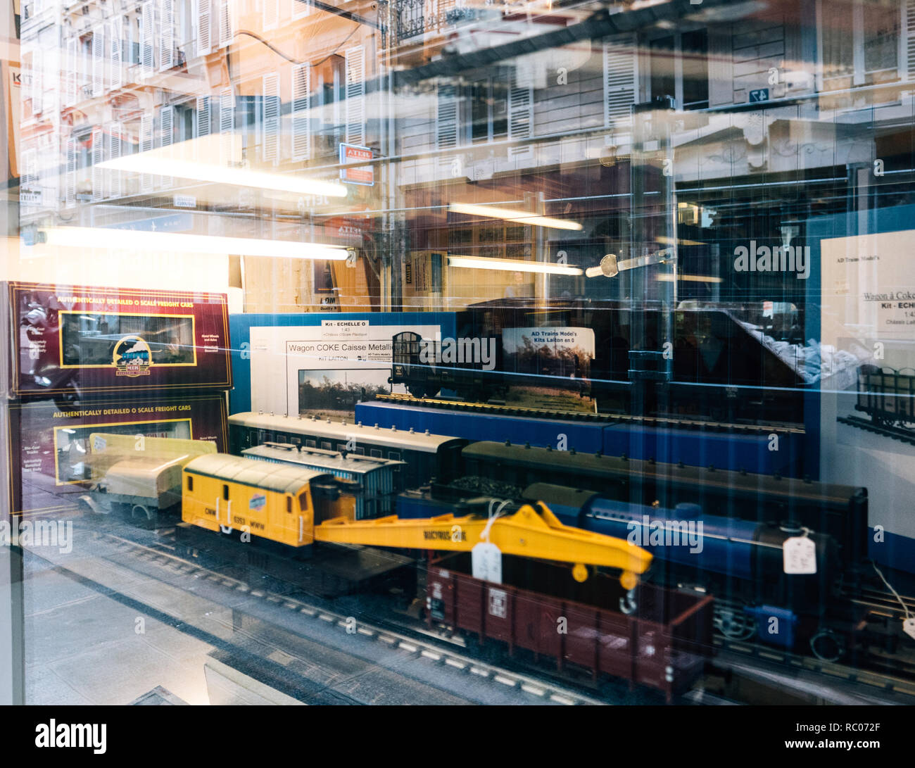 PARIS, FRANCE - JAN 30, 2018: Store window facade selling multiple toy collectible model trains featuring all railways in the world in central Paris, France Stock Photo