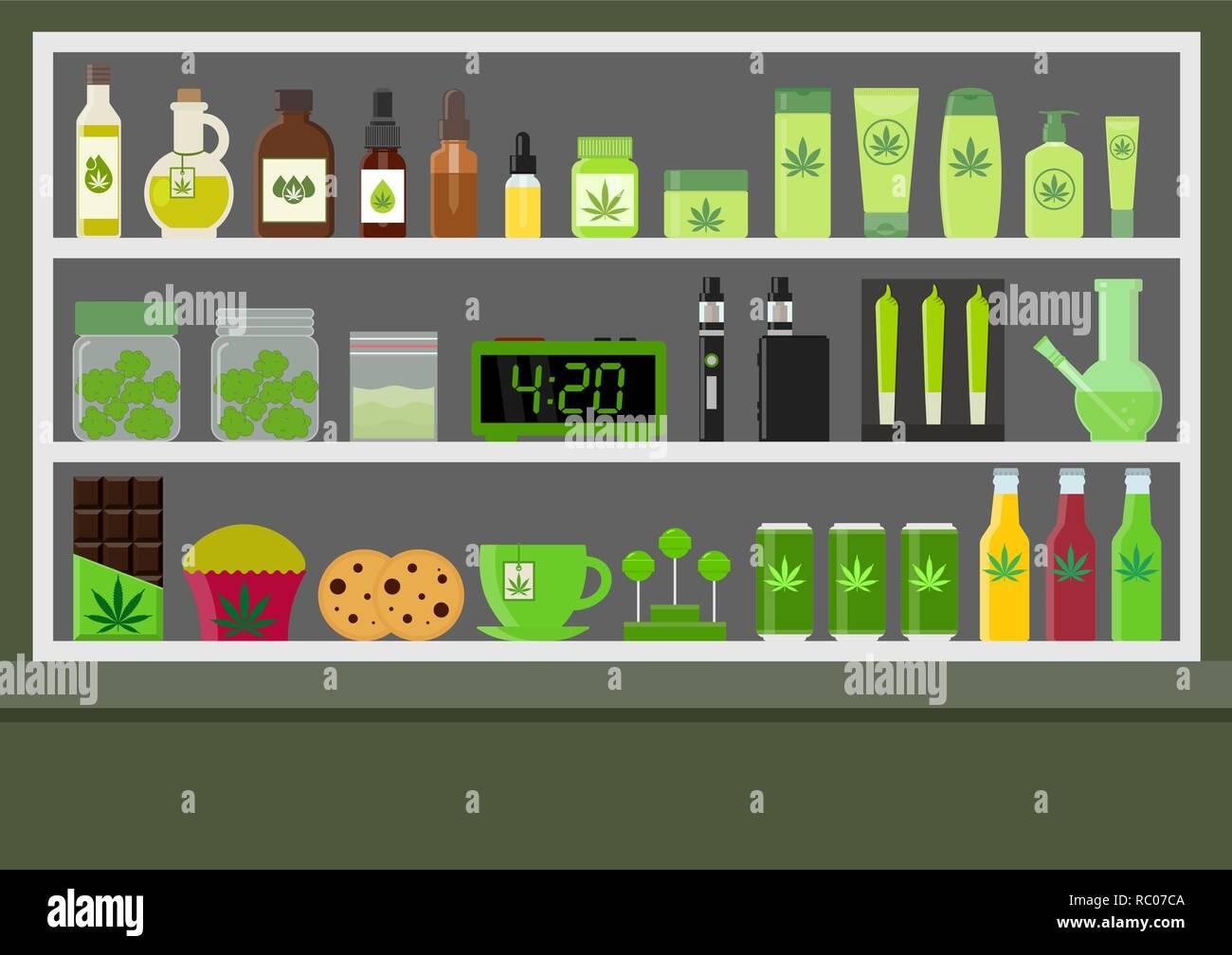 Marijuana store. Marijuana equipment and accessories for smoking, storing medical cannabis. Cannabis products. Marijuana Legalization. Isolated vector - Stock Image
