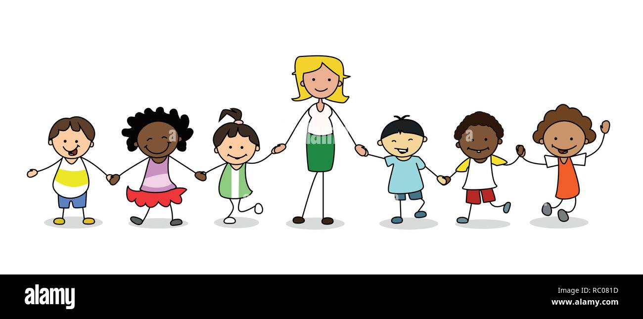 Kids Holding Hands Cartoon Hand Cut Out Stock Images