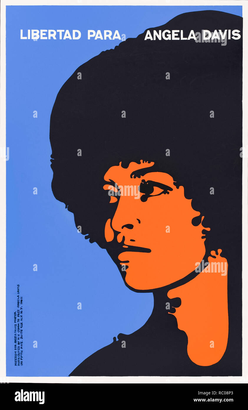 Libertad Para Angela Davis (Freedom For Angela Davis) poster 1971 designed by Félix Alberto Beltrán Concepción featuring a stencil portrait of Angela Davis in support of her release after the FBI apprehended her whilst on the run on 13 October 1970. See more information below. - Stock Image