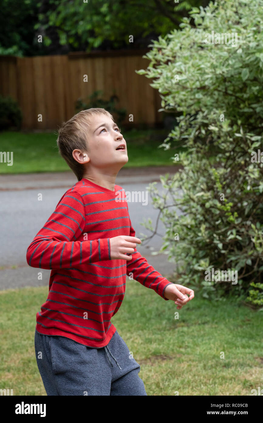 Ten year old boy waiting to catch a football in his yard. (MR) - Stock Image