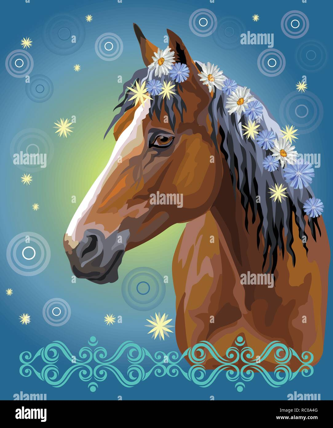 Vector colorful illustration. Portrait of bay horse with different flowers in mane isolated on blue gradient background with decorative ornament and c - Stock Vector