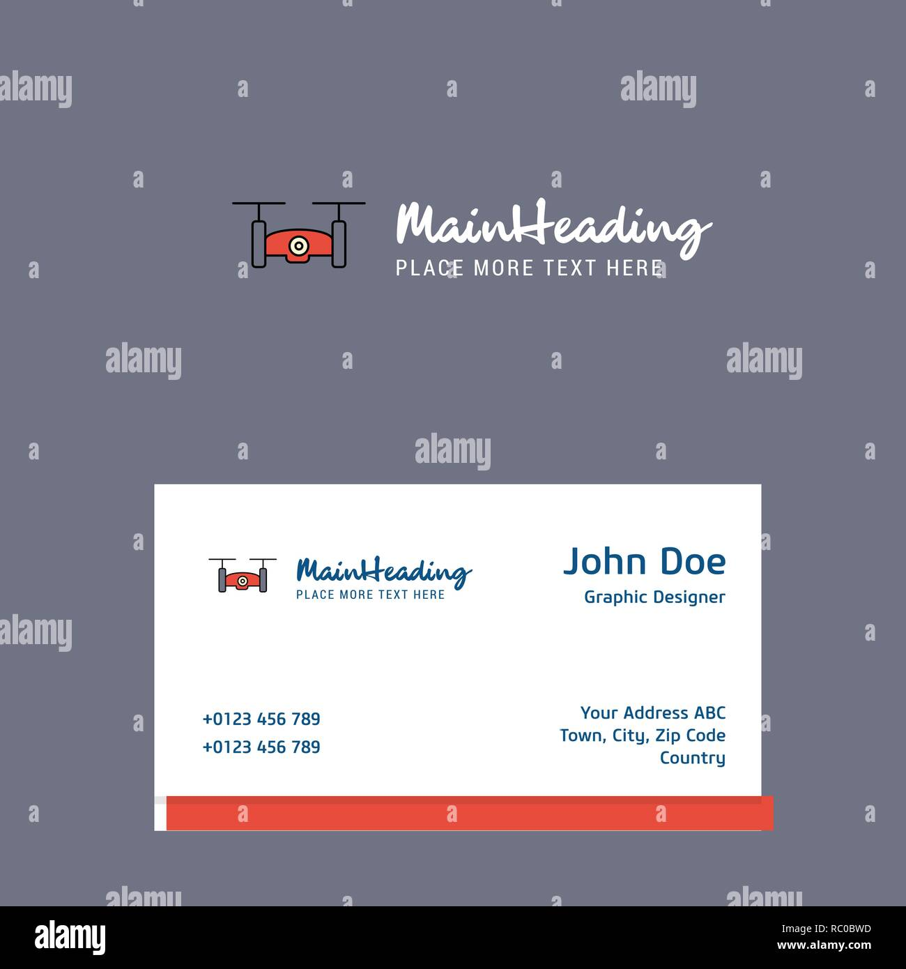 Drone camera logo Design with business card template. Elegant corporate identity. - Vector - Stock Image