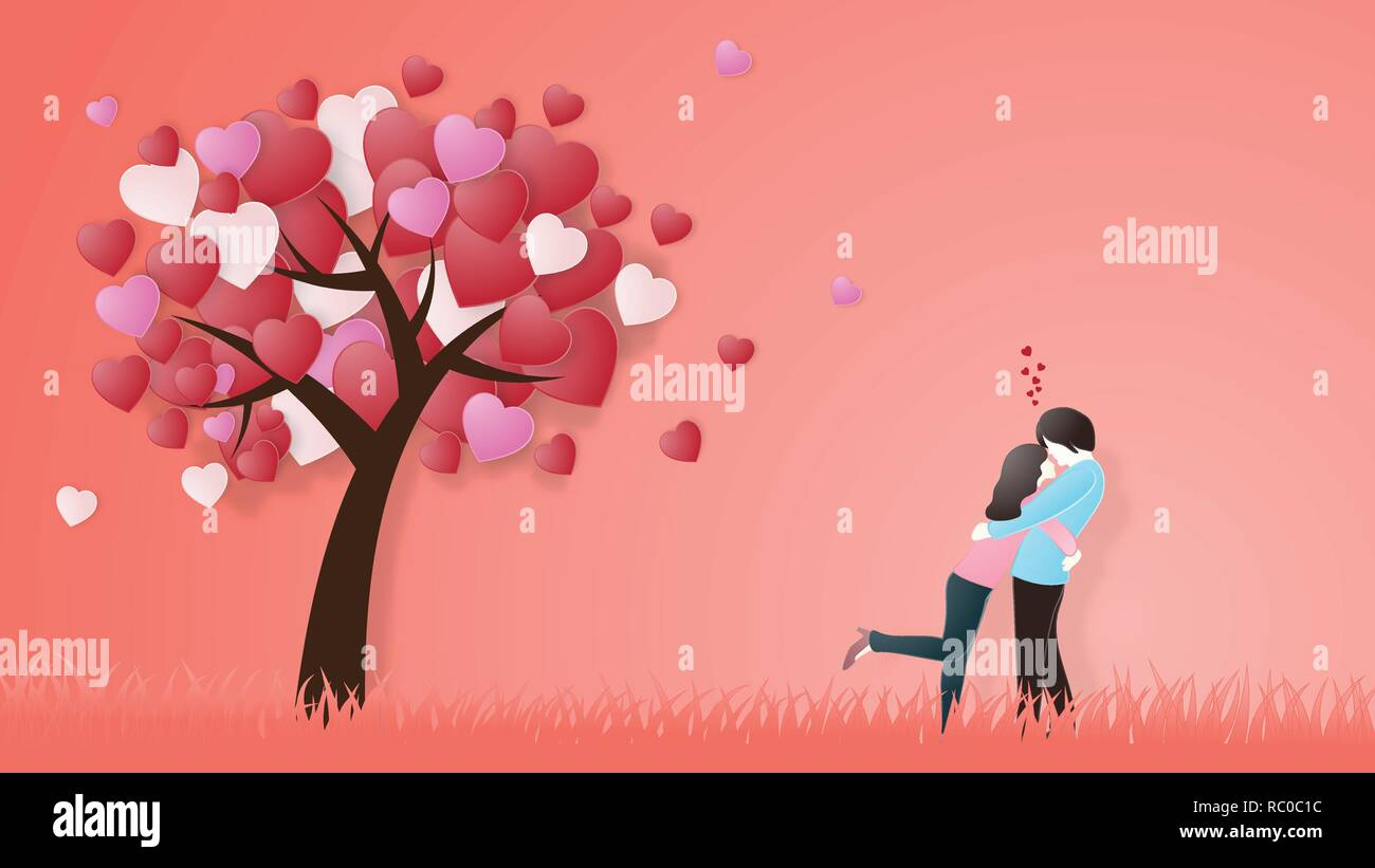 Creative Of Love Valentines Day Concept Love Couple Hug Under Love Heart Tree Background Vector Illustration Invitation Card Valentine S Day Paper C Stock Vector Image Art Alamy