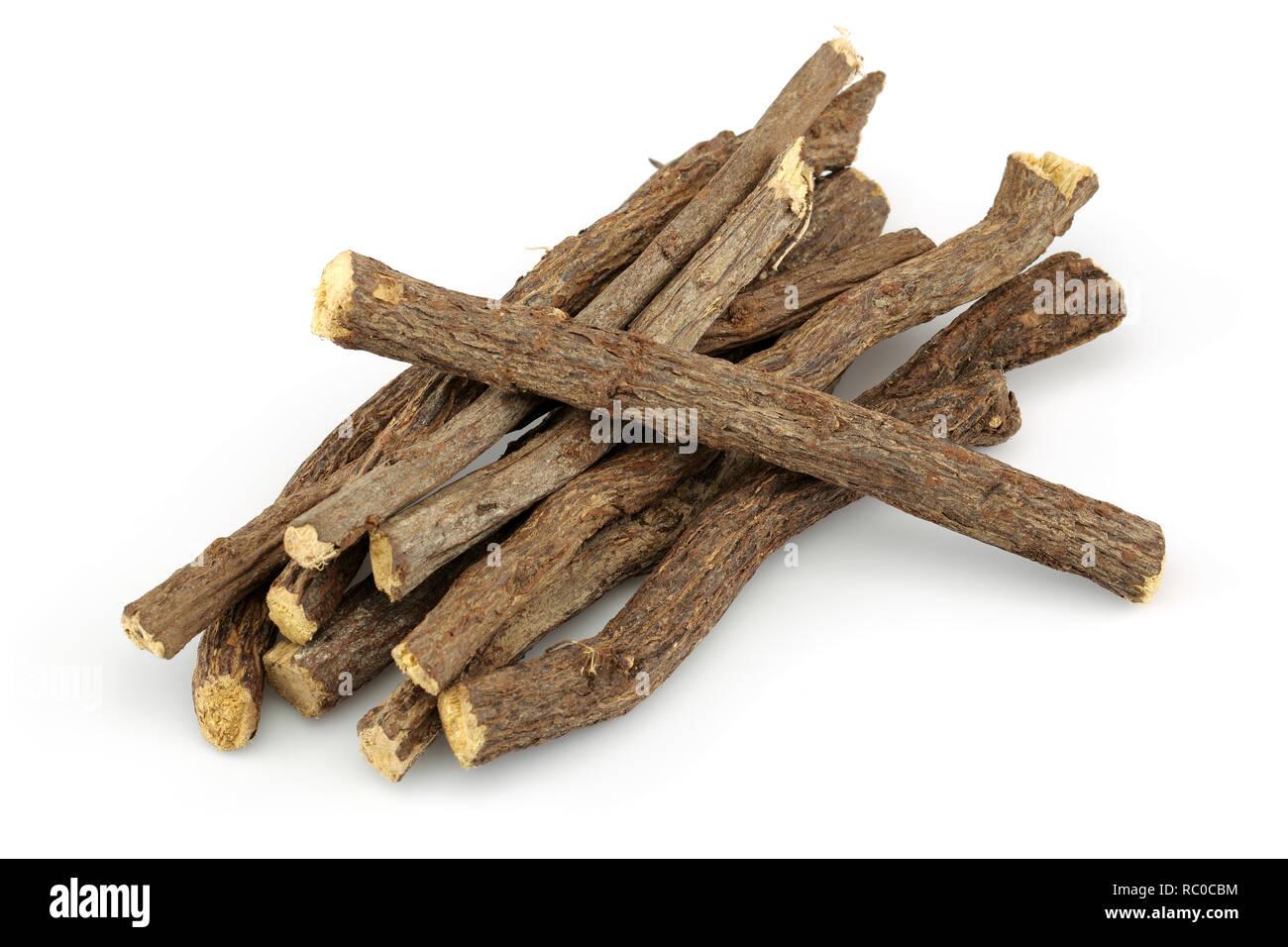 Liquorice root isolated on white background - Stock Image