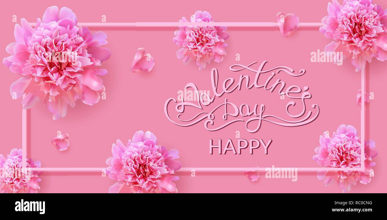 tender pink valentine's day card with peony flowers with handwritten text - Stock Vector