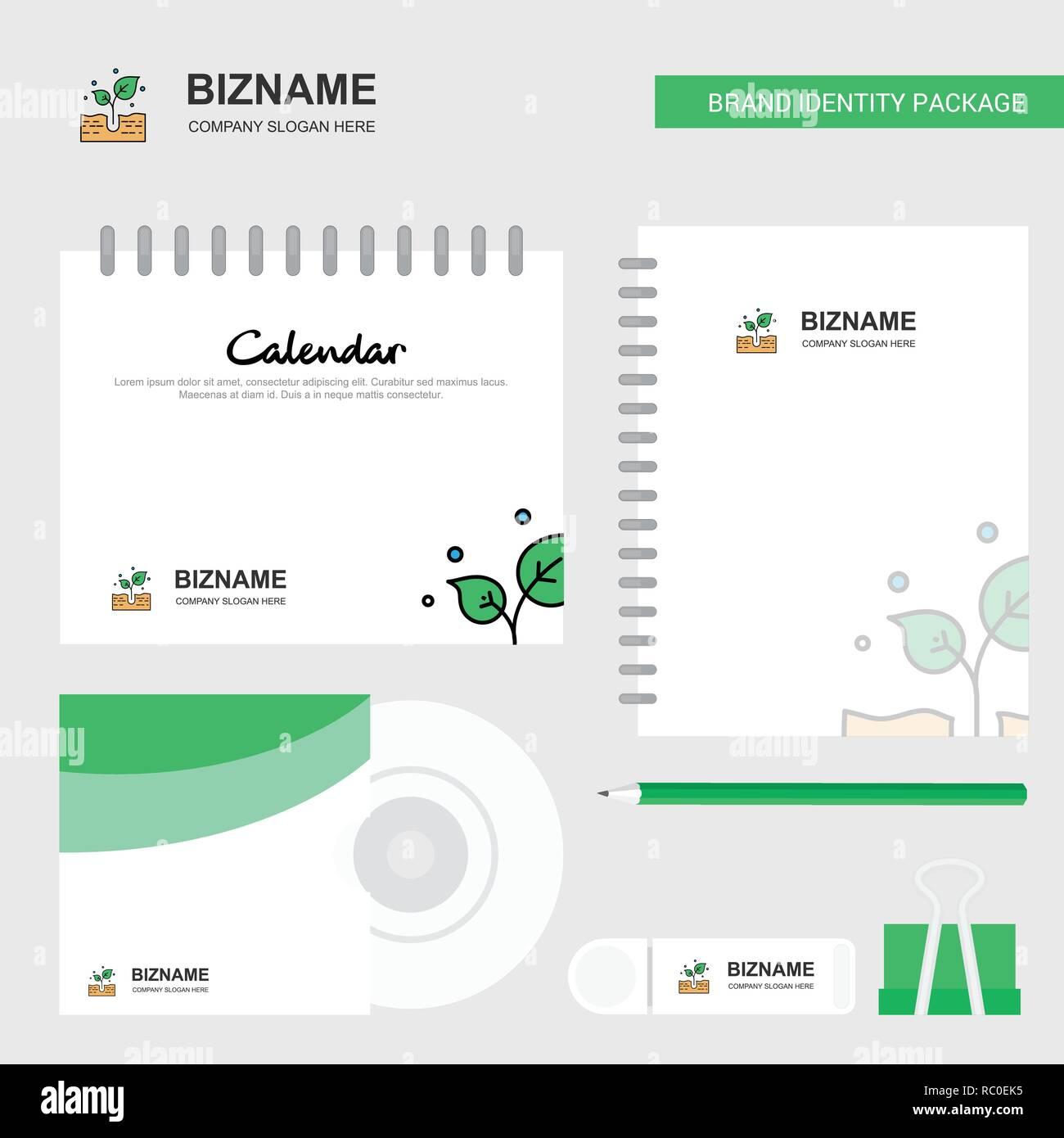 Plant Logo, Calendar Template, CD Cover, Diary and USB Brand