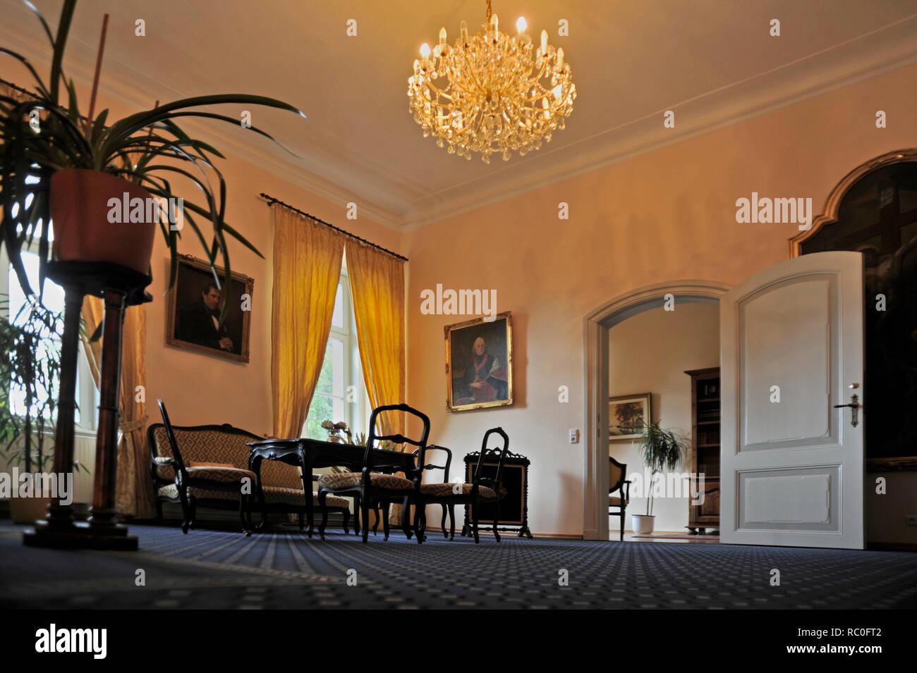 Schlosshotel Rühstädt, Innenaufnahme, Storchendorf Rühstädt, Landkreis Prignitz, Brandenburg, Deutschland, Europa   Palace Hotel Rühstädt, Rühstädt, d - Stock Image