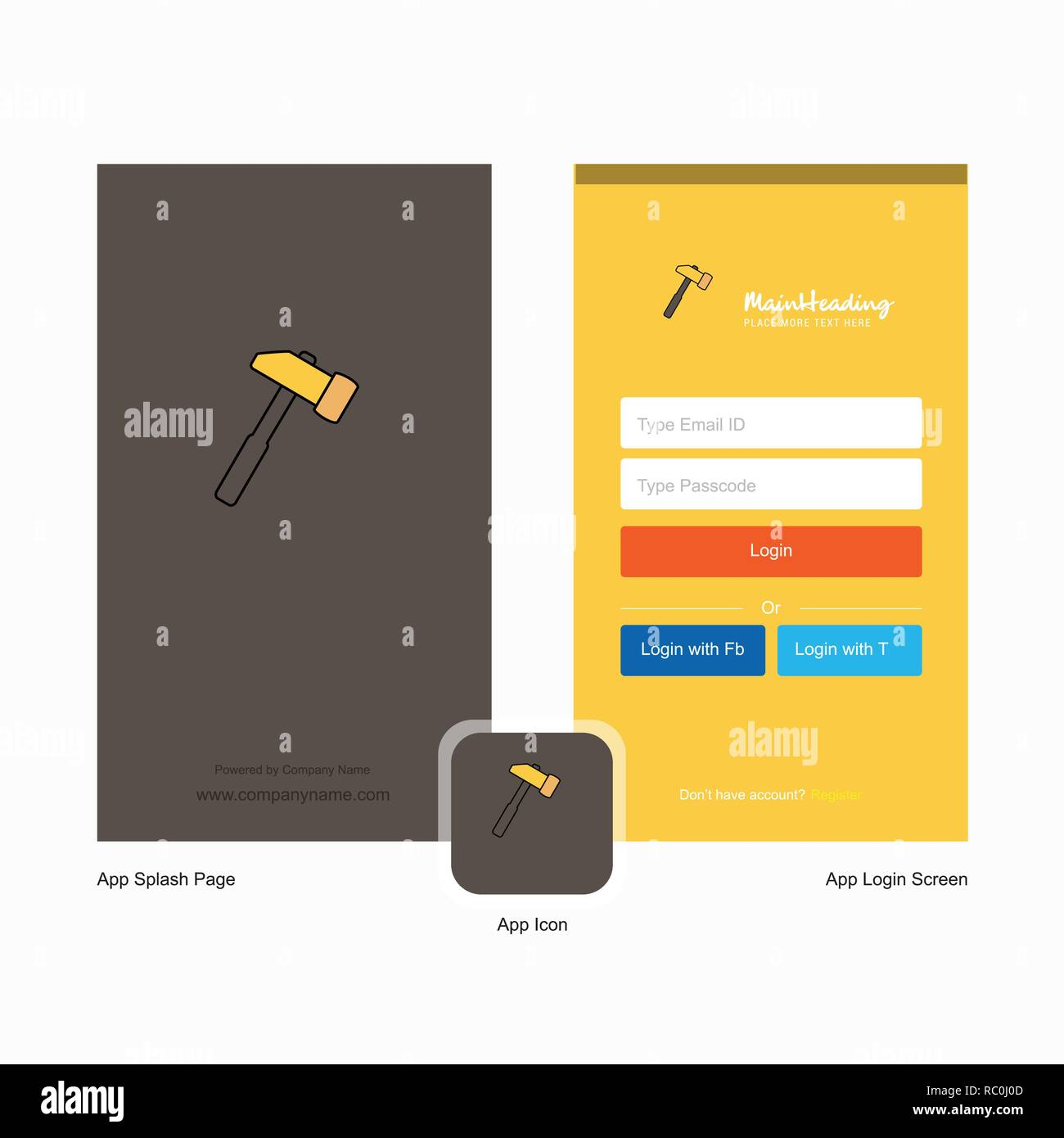 Company Hammer Splash Screen and Login Page design with Logo