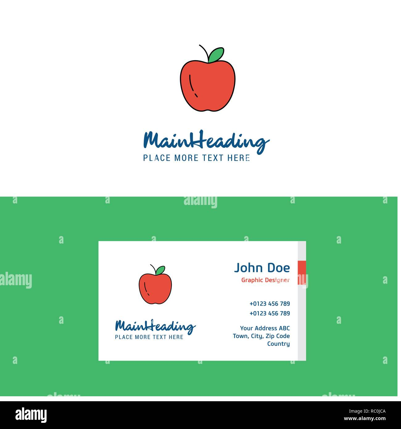 Flat Apple Logo And Visiting Card Template Busienss Concept Logo
