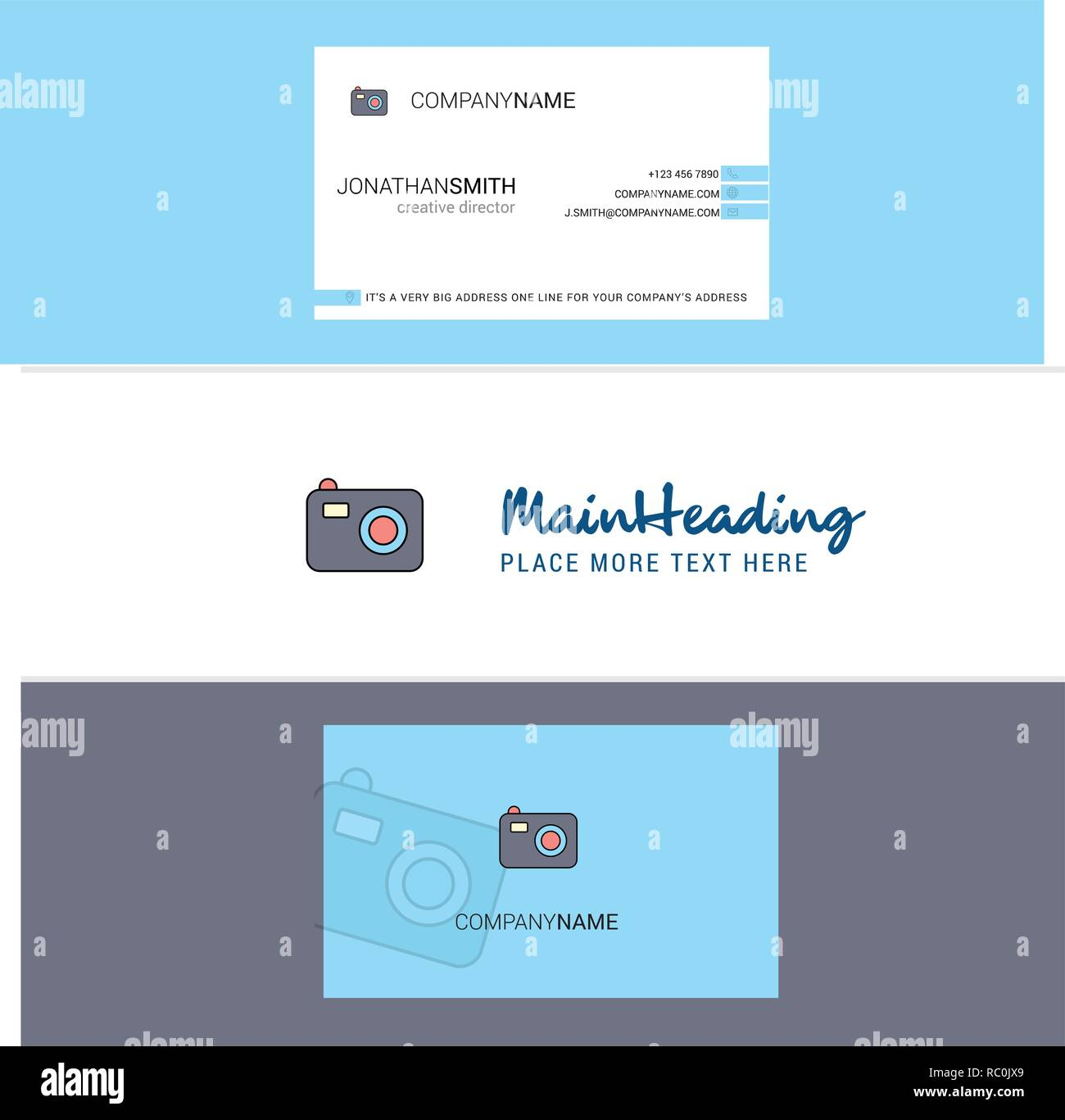Beautiful Camera Logo and business card. vertical Design Vector - Stock Vector