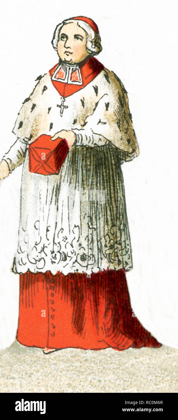 The figure pictured here is a German bishop in 1700. This illustration dates to 1882. - Stock Image